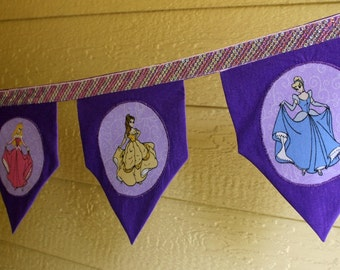 Disney Princess Banner Bunting Purple Girls Room Decor Party