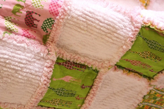 Rag Quilt Urban Circus and Chenille - Baby Toddler Girl Pink, Green, Yellow, White Elephants and Giraffes