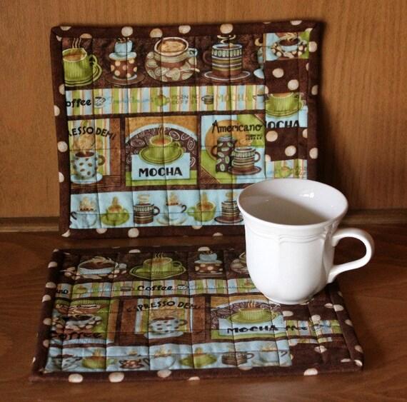 Mug Rugs Quilted Debbie Mumm Coffee Fabric Chocolate Brown