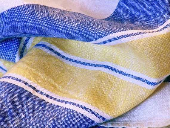 Vintage Heavy Linen Tablecloth - Blue and Yellow Stripes 57 x 85