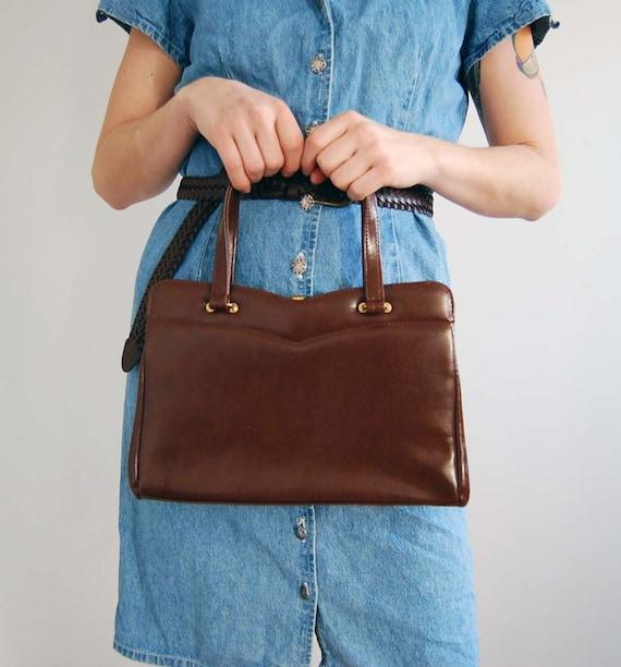 SALE vintage brown leather handbag