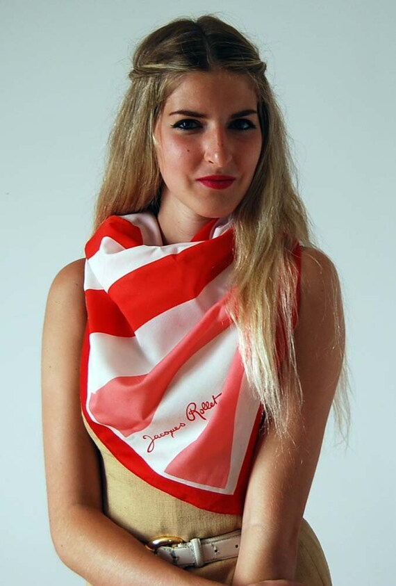 SALE oversized red and white striped scarf