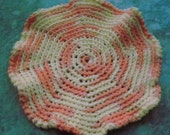 Cotton Dishcloth/Doily - Creamsicle