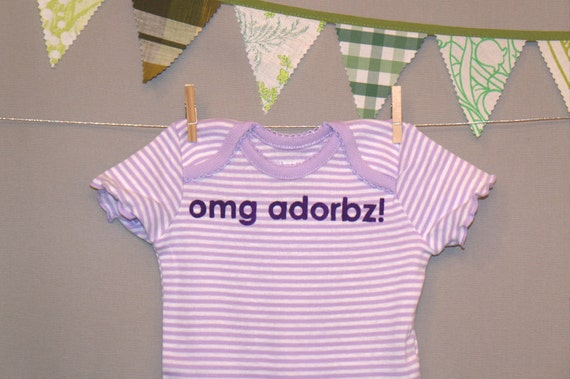 omg adorbz --- purple striped bodysuit, size 0 - 3 months.