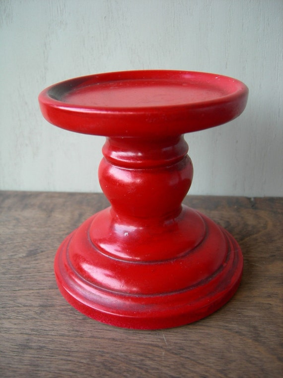 Red Vintage Ceramic Pillar Candle Holder