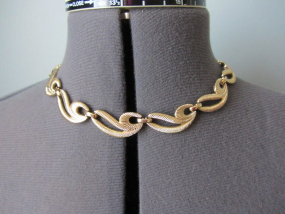 SALE Gold Choker Necklace by Monet Thick Links Excellent Condition Gold Tone Metal 1960s