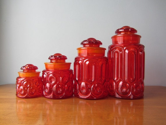 LE Smith Amberina Red Moon and Stars Canister Set of 4 Excellent Condition