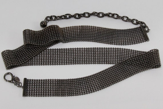 One Inch wide1980's Flexible Silver and Black Ball Chain Disco Belt signed Express Steampunk