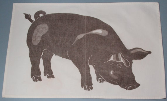 Vintage Placemat Silkscreen Mama Pig Signed Beth Lewis 1978