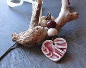 Handmade Red Porcelain Heart Necklace