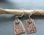 Etched Copper and Pewter Earrings - ForMySweetDaughter