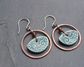 Copper and Blue Porcelain Earrings - ForMySweetDaughter