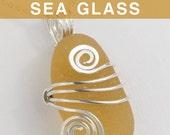 Apricot English Sea Glass Jewelry, Beach Glass
