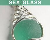 Jade Green English Sea Glass Pendant