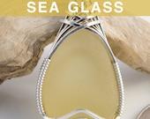 Soft Yellow Sea Glass Pendant, Lemonade Beach Glass