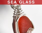 English Red Sea Glass Pendant, Wire Wrapped Jewelry