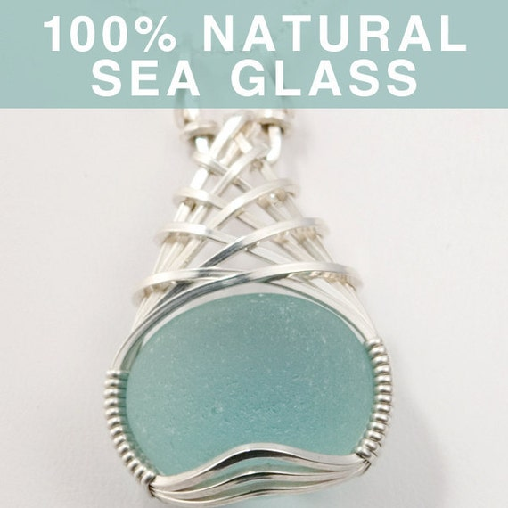 Seafoam English Sea Glass Jewelry, Beach Glass Pendant