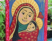 Madonna Virgin Mary Our Lady   Original Mixed Media and Acrylic Folk Art Painting
