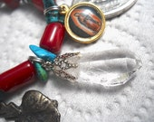 Guadalupe's Crystal Milagros  Rosary One Decade Bracelet Turquoise, Red Coral, Free US Shipping