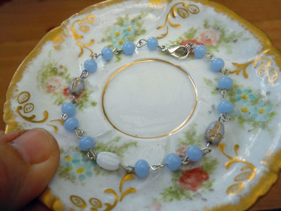 Vintage Cornflower Blue Rosary Bead Bracelet With Vintage Crucifix Beads and White Mary Bead Free Shipping US and Canada