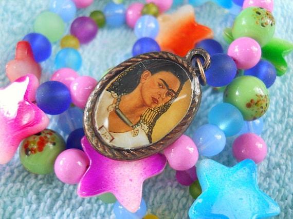 Frida Artist Inspiration Necklace Colorful Beautiful Frida OOAK