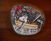 Bird in Boat on River Rock Original ink illustration Paperweight Art by Holly Hinkle