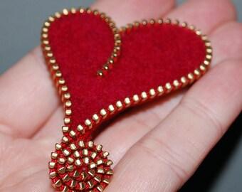 Zipper/Recycled Felted Wool Sweater Zipper Brooch/Pin- Red Asymmetrical Heart Gold Brass Zipper
