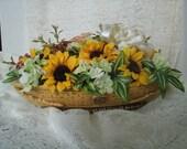 Sunflower Floral Arrangement In Vintage Ceramic, silk flowers retro asian motif summer table decoration cottage chic