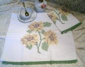 Hand-Embroidery Sunflower Kitchen Towels, home decor victorian retro cottage chic cross stitch needlecraft steampunk floral country