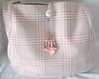 Pink Plaid Handbag With Charm, boho clothing bohemian clothing gypsy clothing hippie clothing hipster victorian purse