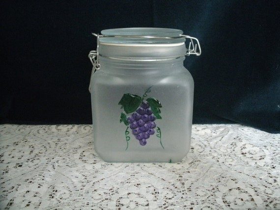 Handpainted Grape Design Glass Kitchen Canister Or Treat Jar, housewares victorian home decor glassware decorative painting tole folk art