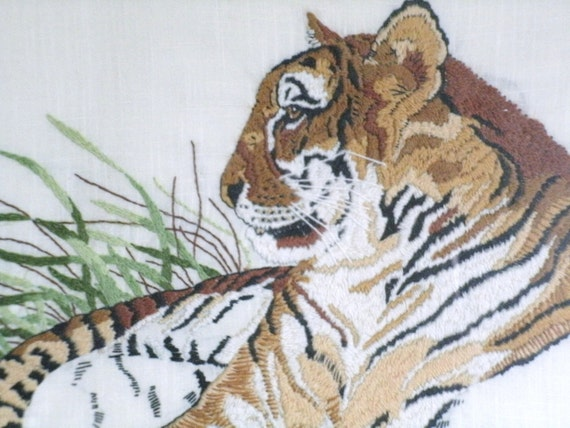 Vintage Embroidery Picture Of African Tiger Lying in Grass, wildlife, animal, big cat, endangered species, rare, needlecraft