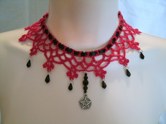 Red Lace Pentacle Choker Necklace, wiccan jewelry pagan jewelry wicca jewelry witch metaphysical witchcraft magic pentagram goddess