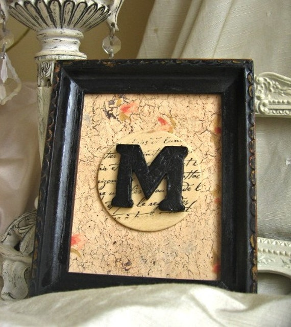 Shabby Chic Vintage Framed Letter M