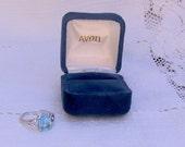 Vintage Avon Blue Topaz Ring New in Box Size 7 1/4