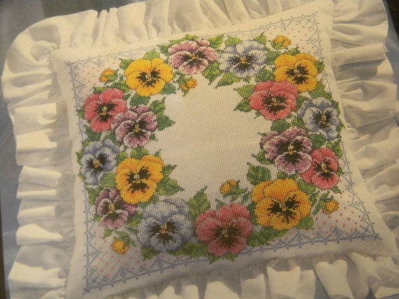 Counted Cross Stitch Pansy Pillow Kit