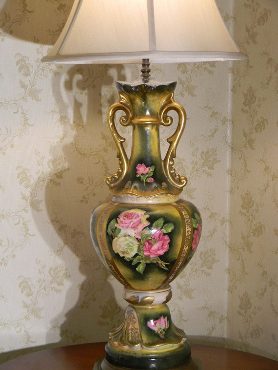 Victorian Lamp Hand Painted