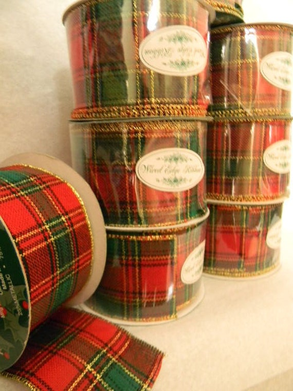Christmas Ribbon  Red and Green Plaid Wired  10 Yards each New
