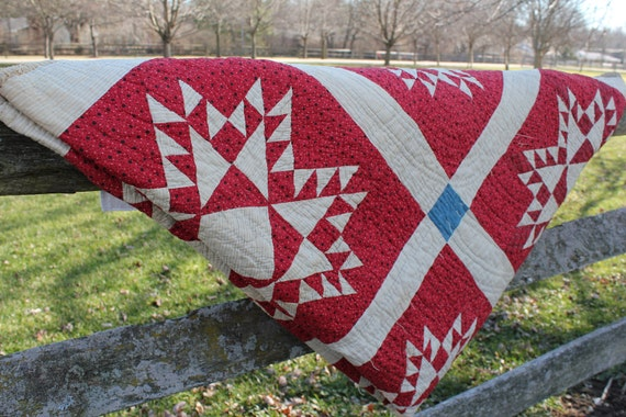 Quilt  From Early 1900s Red and White and Blue