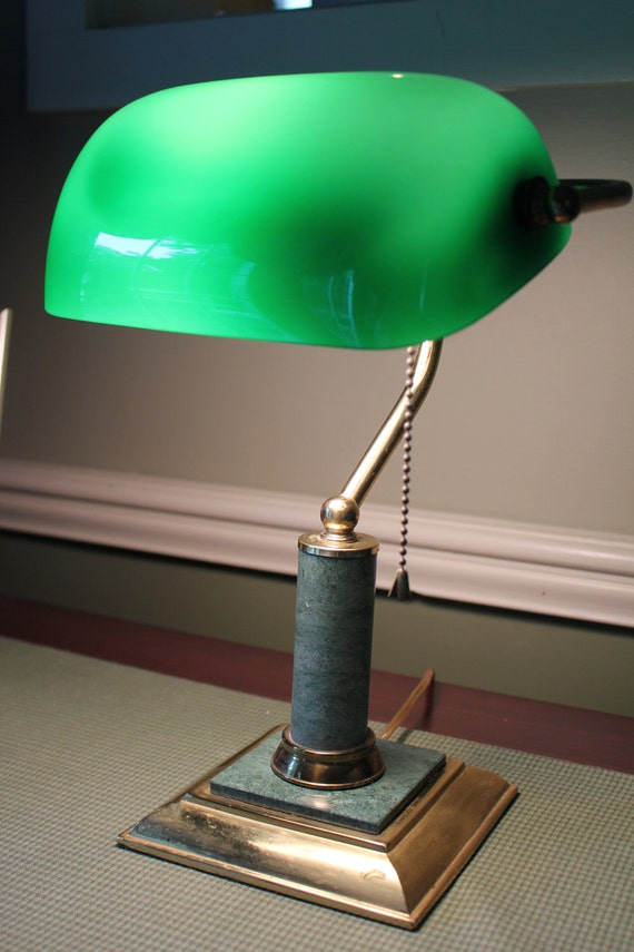 Emerald Green Brass Bankers Lamp Desk Lamp With By