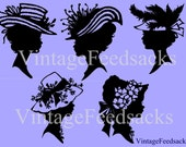 Vintage Women in Hats Silhouettes Clip Art Digital Stamps Set of 5 PNG Files No 255 COMMERCIAL USE