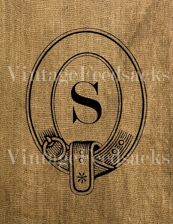 Digital Download - MONOGRAM Your Choice of Initial In Collar Frame Iron on Fabric Transfer Digital Collage No 228