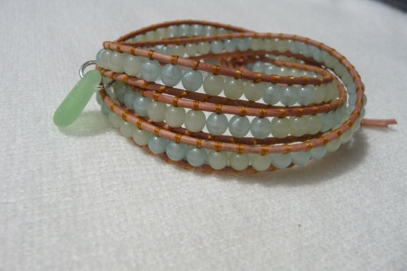 Soothing Hues Triple Leather Wrap Bracelet with Beach Glass Charm
