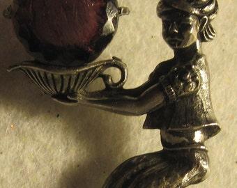 JewelArana Signed Vintage Gennie With Glass Amethyst Stone Brooch