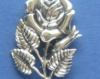 Rose Sterling Brooch Vintage Danecraft  Sterling Silver Rose Brooch