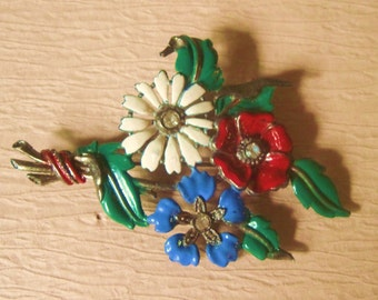 Enamel Flower Brooch Vintage    Enamel Pot Metal Bouquet Flower Brooch With Perfume Or Flag Holder