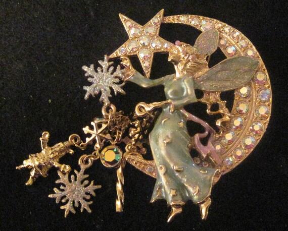 Vintage Fairy Pin By Kirks Folly Christmas Santa Moon And