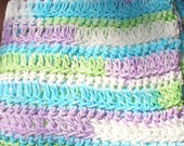 Violet, Lime, Turquoise, White Baby Blanket