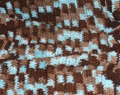 Bed Blanket - Rich Browns and Soft Blue