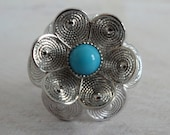 Vintage Sarah Coventry Blue Buttercup Flower Ring, by VINTAGEISVOGUE on Etsy